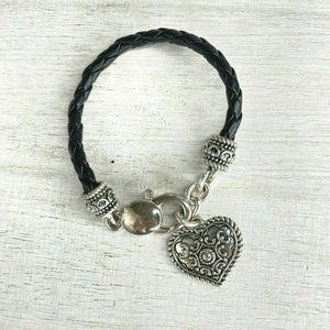 Nina Ricci Black Leather Large Heart Charm Bracele